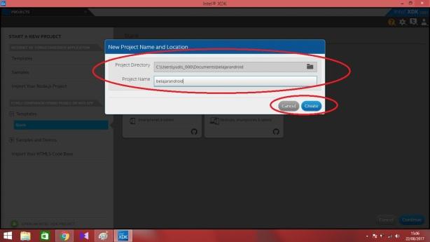 4. tulis nama dan pilih lokasi project lalu klik create